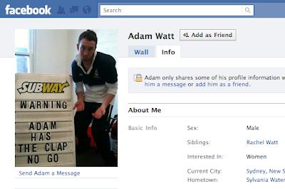 Adam Watt has the clap