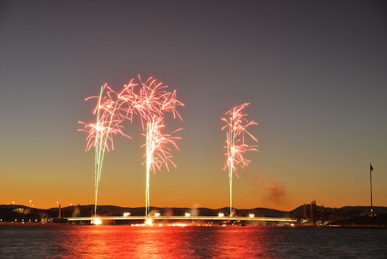 fireworks over commonwealth bridge
