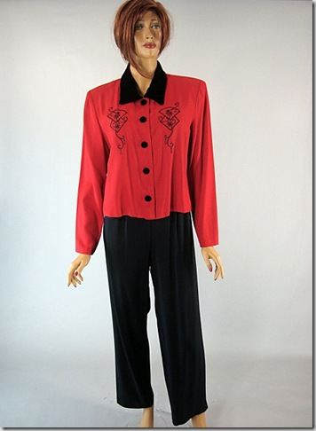 Red & Black Vintage 80s 2 pc outfit 4