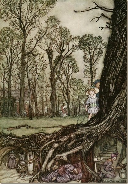 The Fairies would hide until dusk Arthur Rackham