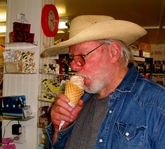 Ray eating  frozen yogurt