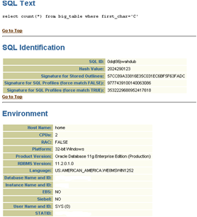 Sections of XTRACT SQL Text, SQL Identification, Environment