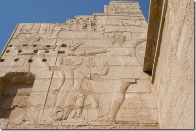 Hieroglyphic reliefs on the outside of the Syrian Gate