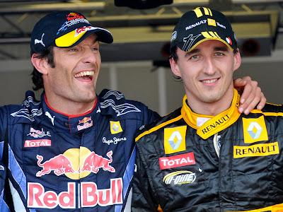 Марк Уэббер и Роберт Кубица после квалификации на Гран-при Монако 2010