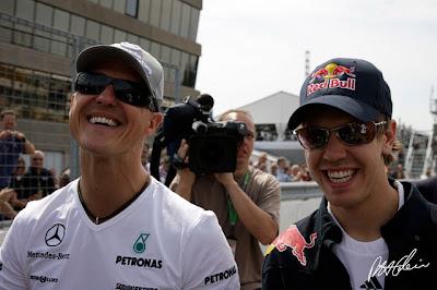 Михаэль Шумахер и Себастьян Феттель на Гран-при Канады 2010
