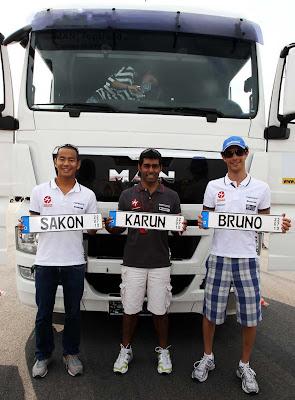 Сакон Ямамото Карун Чандхок и Бруно Сенна на Гран-при Германии 2010