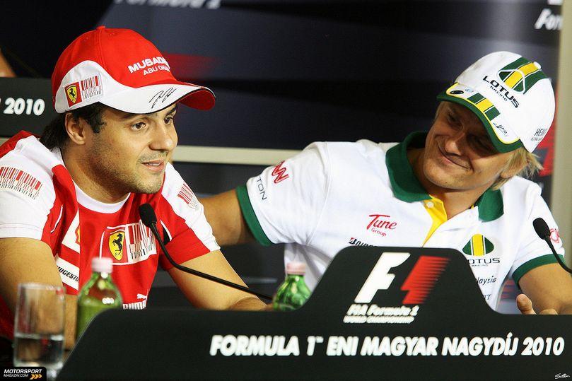Фелипе Масса и Хейкки Ковалайнен на пресс-конференции в четверг Гран-при Венгрии 2010