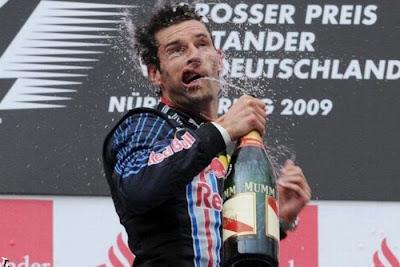Марк Уэббер на подиуме Гран-при Германии 2009