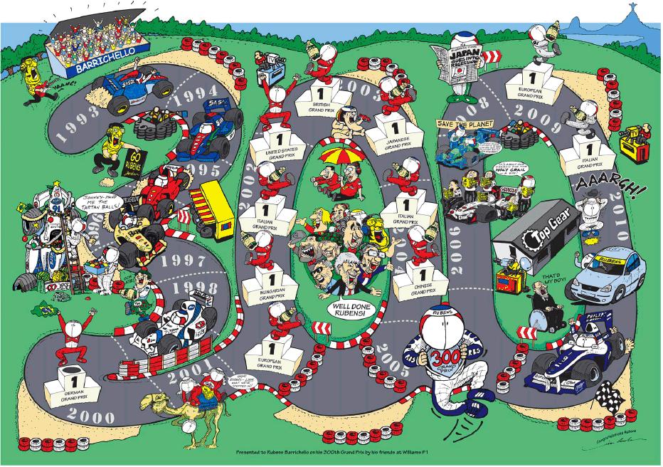 Плакат Jim Bamber в честь 300-х сотого Гран-при Рубенса Баррикелло