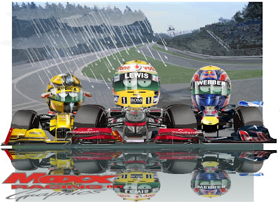 Льюис Хэмилтон Роберт Кубица и Марк Уэббер под дождем на Гран-при Бельгии 2010