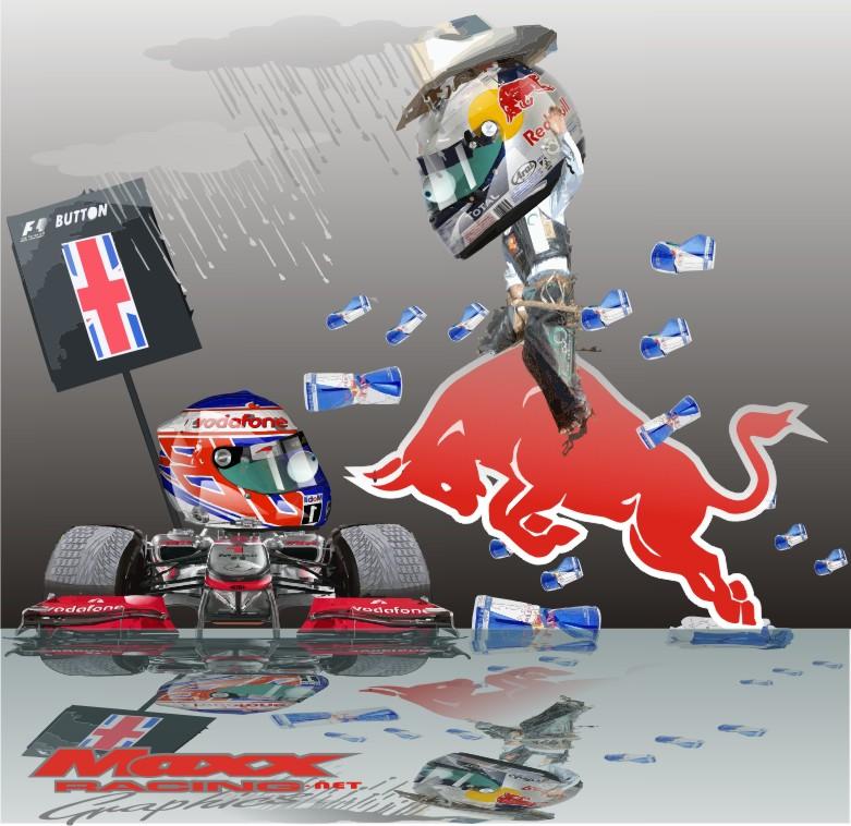 Дженсон Баттон и Себастьян Феттель на Гран-при Бельгии 2010