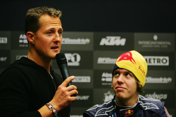 Михаэль Шумахер и Себастьян Феттель на гонке чемпионов 2008