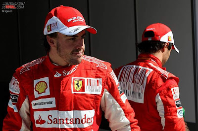 Фелипе Масса и Фернандо Алонсо после квалификации Гран-при Италии 2010