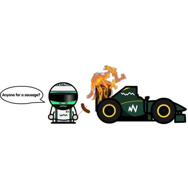 Хейкки Ковалайнен жарит сосиски на полыхающем болиде Lotus на Гран-при Сингапура 2010