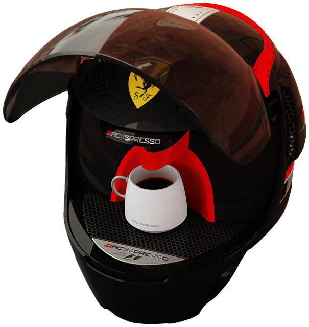 красная кофеварка Ferrari в действии