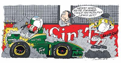 Хейкки Ковалайнен тушит свой Lotus на Гран-при Сингапура 2010 комикс Jim Bamber