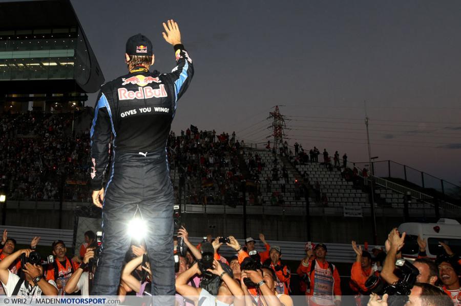 Себастьян Феттель после победы на Гран-при Японии 2010