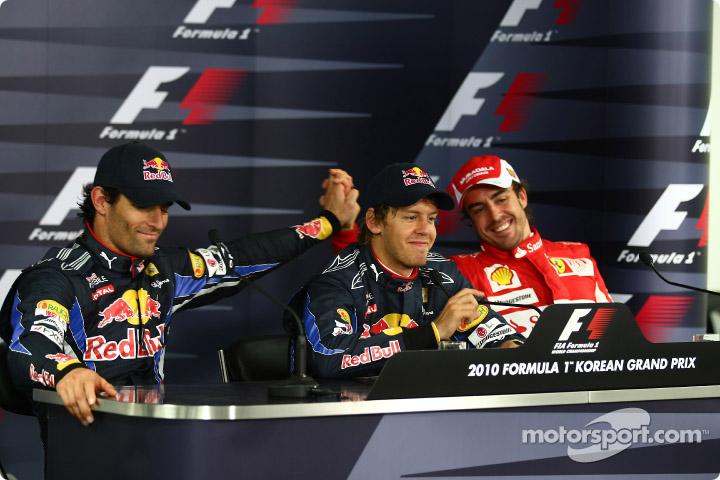 Марк Уэббер Себастьян Феттель и Фернандо Алонсо на пресс-конференции после квалификации на Гран-при Кореи 2010