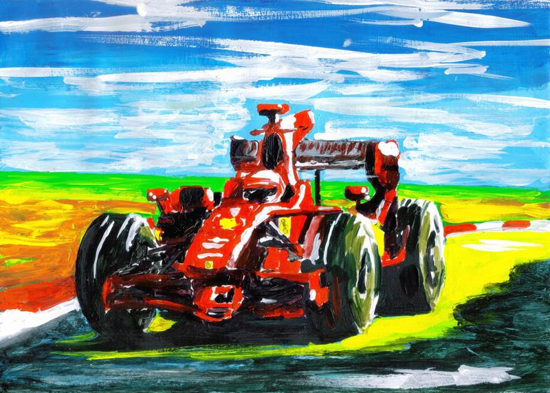 красочная картина с болидом Ferrari