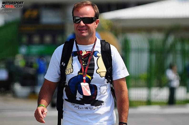 Рубенс Баррикелло в забавной футболке на Гран-при Бразилии 2010