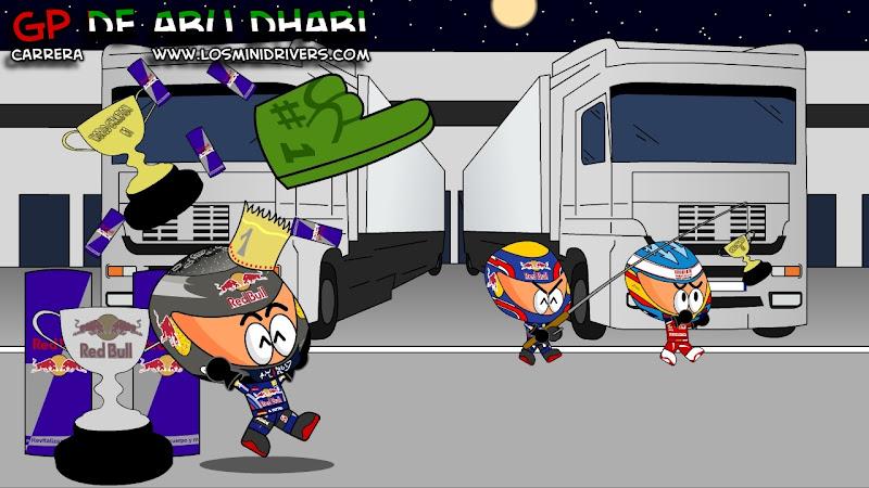 Марк Уэббер отвлекает Фернандо Алонсо а в это время Себастьян Феттель берет титул на Гран-при Абу-Даби 2010
