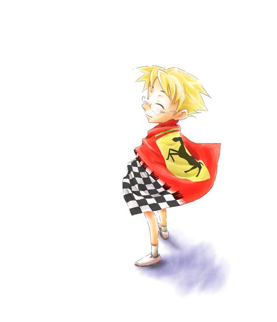 анимешный болельщик Ferrari окутанный в флаг