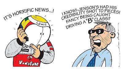 Льюис Хэмилтон беспокоится о Дженсоне Баттоне комикс Jim Bamber