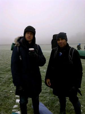 Дженсон Баттон и Льюис Хэмилтон после съемок для Vodafone 6 декабря 2010