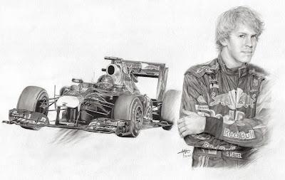 Себастьян Феттель и Red Bull черно-белый рисунок