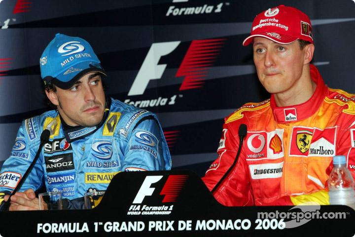 Фернандо Алонсо и Михаэль Шумахер на пресс-конференции Гран-при Монако 2006