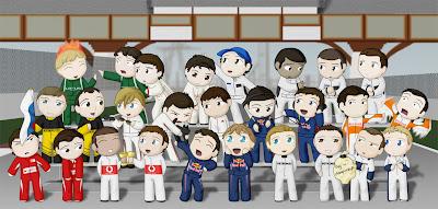 чиби гонщики сезона 2010 Формулы-1 на одном фото