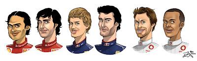 карикатуры гонщиков Формулы-1 Масса Алонсо Феттель Уэббер Баттон Хэмилтон