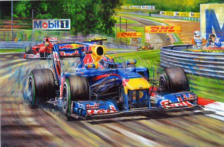 картина Марк Уэббер Red Bull на Гран-при Венгрии 2010
