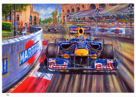 картина Марк Уэббер Red Bull на Гран-при Монако 2010