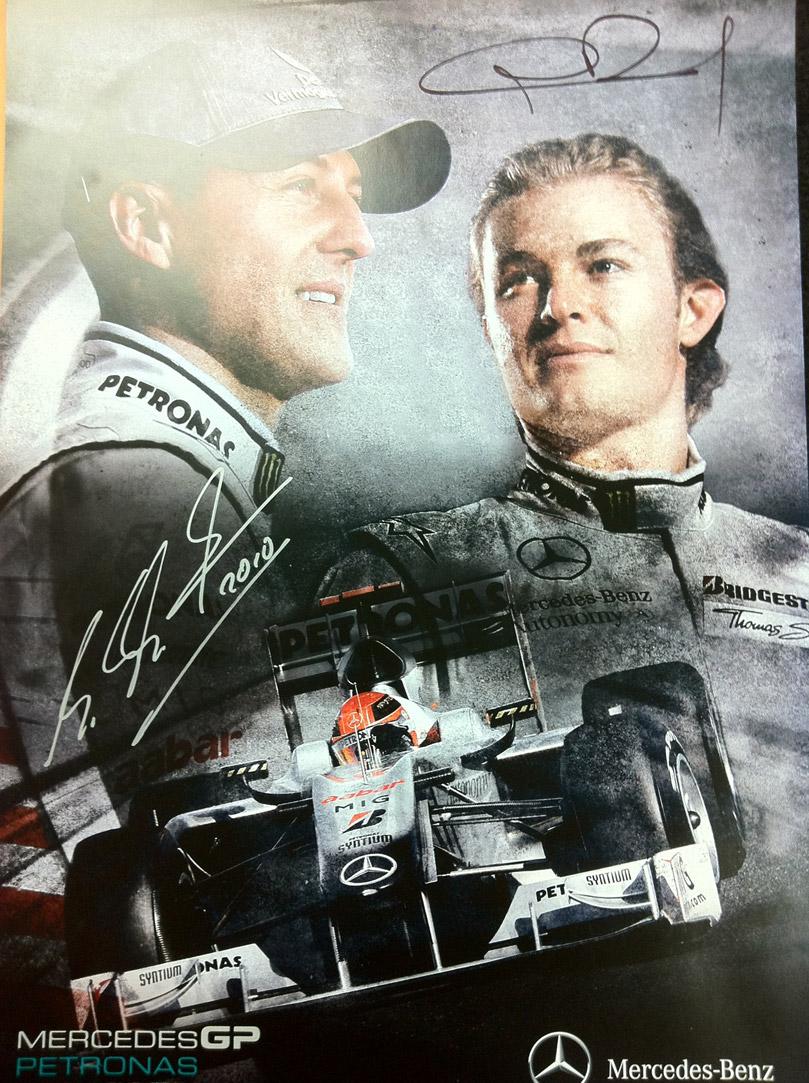 постер Mercedes GP с Михаэлем Шумахерым и Нико Росбергом в честь 50000 фоловеров