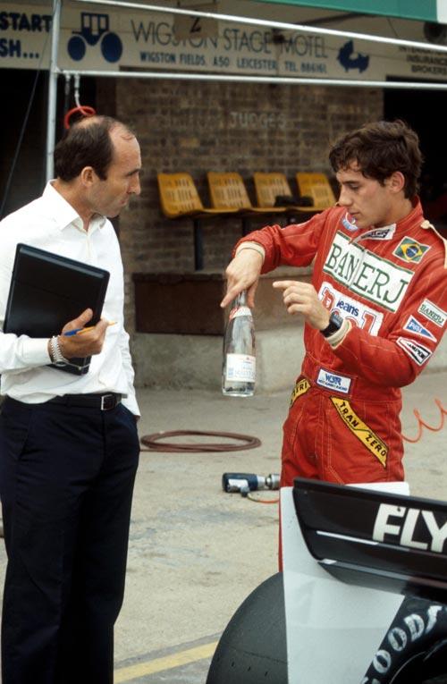 Фрэнк Уильямс и Айртон Сенна на тестах в Донингтоне 19 июля 1983