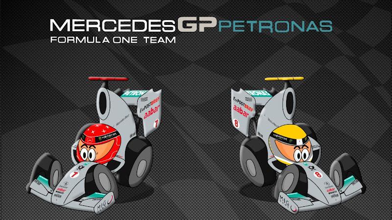 Михаэль Шумахер и Нико Росберг Mercedes GP 2011 Los MiniDrivers