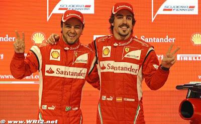 Фелипе Масса и Фернандо Алонсо на презентации Ferrari F150 для сезона 2011