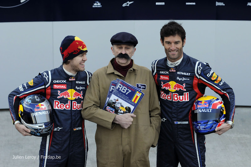 Себастьян Феттель и Марк Уэббер на презентации болида Red Bull RB7