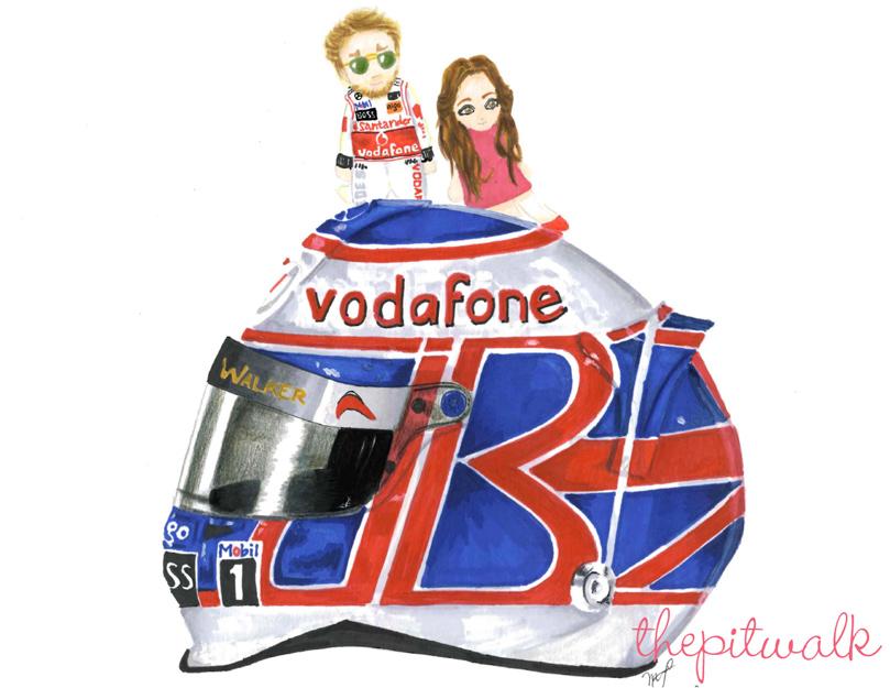 рисунок Дженсон Баттон и Джессика Мичибата на шлеме