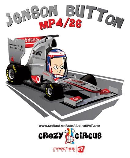 карикатура Дженсон Баттон McLaren 2011 MP4-26 Crazy Circus Marchesi Design
