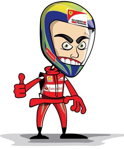 Фелипе Масса в шлеме Ferrari 2011 карикатуры Marchesi Design