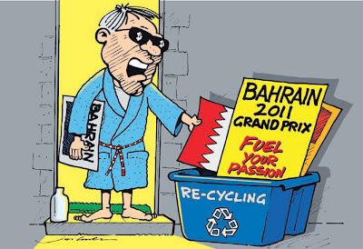 комикс Jim Bamber Берни Экклстоун отправляет Бахрейн в мусорную корзину