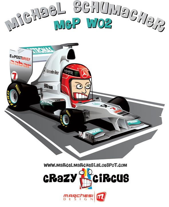 Михаэль Шумахер Mercedes GP W02 2011 карикатуры Crazy Circus Marchesi Design