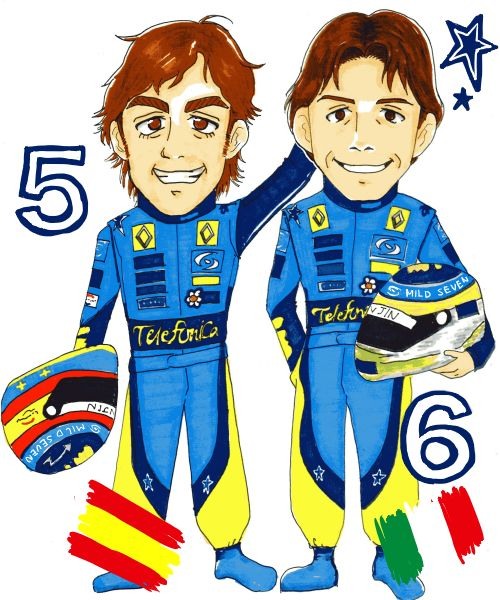 карикатура Фернандо Алонсо и Джанкарло Физикелла в сезоне 2005 года от Chang Midzki