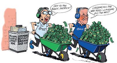 Росс Браун и Патрик Хэд возвращаются из банка с тележками денег комикс Jim Bamber