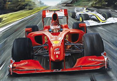 Кими Райкконен на Ferrari F60 и Дженсон Баттон на Brawn GP в сезоне 2009 картина Andrea Del Pesco