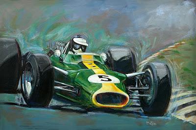 рисунок Джим Кларк на Lotus 49 мчится к победе на Гран-при Нидерландов 1967 года