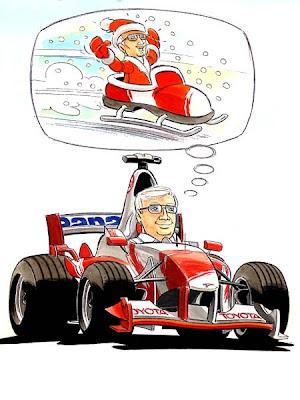 комикс гонщик Toyota формулы-1 мечтает о санках Деда Мороза