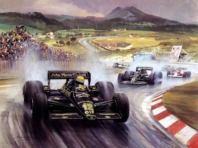 Айртон Сенна лидирует на своем Lotus в Эшториле в 1985 году и мчится к своей первой победе в карьере